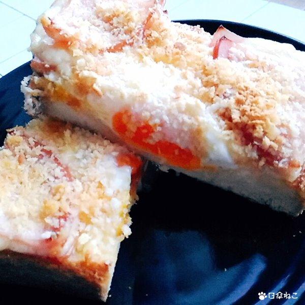 揚げないハムカツエッグトーストカット