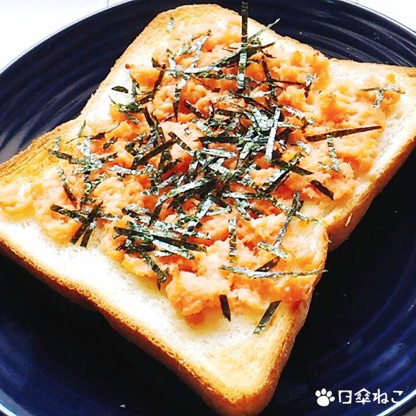 鮭フレークの和風トースト